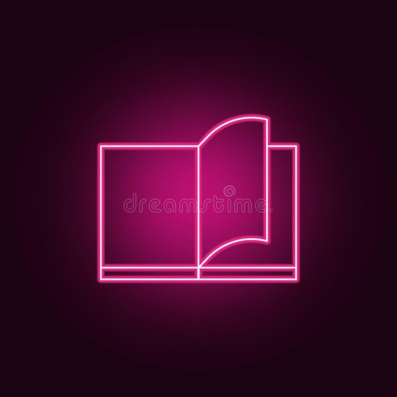 vibrazione attraverso un'icona del libro Elementi dei libri e delle riviste nelle icone al neon di stile Icona semplice per i sit royalty illustrazione gratis
