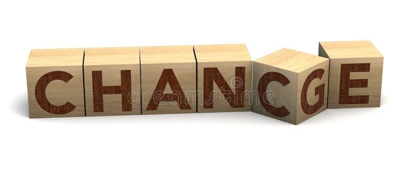 """Vibrazione di legno del cubo con """"il cambiamento """"di parola """"alla probabilità su un fondo bianco Sviluppo e crescita personali di fotografia stock"""