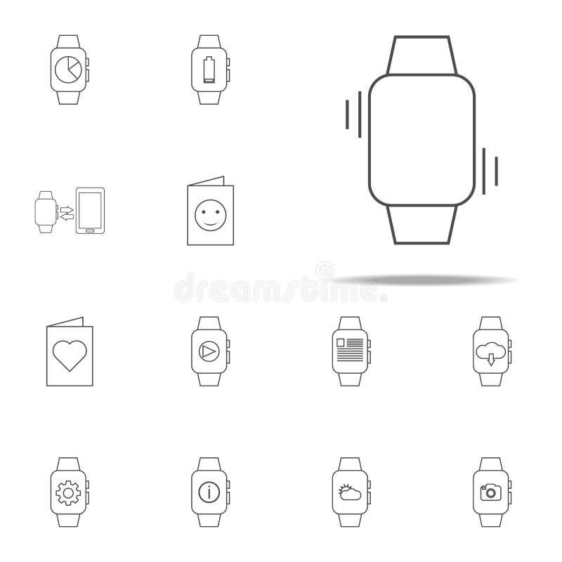 vibrazione su un'icona astuta dell'orologio insieme universale delle icone di web per il web ed il cellulare illustrazione di stock