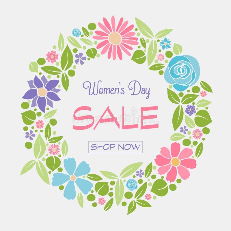 Vibrerande affisch med härliga blommor för dagen Sale för kvinna` s arkivfoton