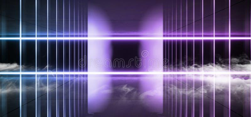 Vibrerande för blått för lilor för psykedelisk för Sci Fi rökneon för laser korridor för rymdskepp framtida mörk glödande faktisk stock illustrationer