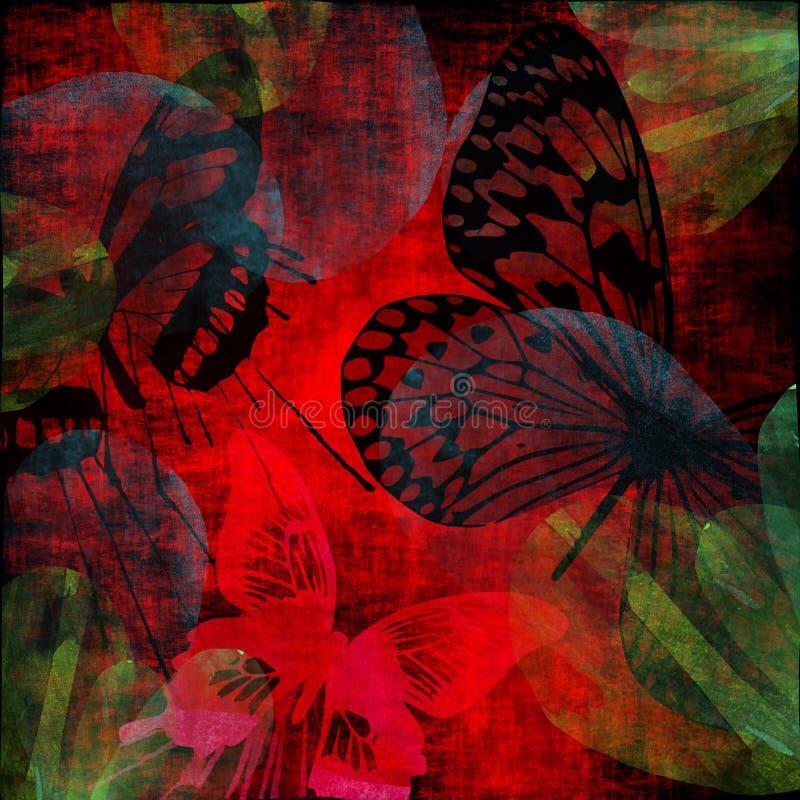 vibrerande fjärilsgrungescharlakansrött stock illustrationer
