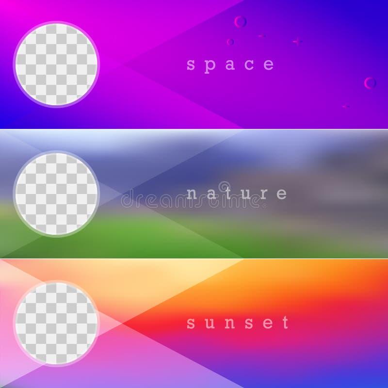 Vibrerande lutningvektorbakgrund, ljus solnedgånglutning, suddig naturbakgrund Tre vektorbanermallar vektor illustrationer