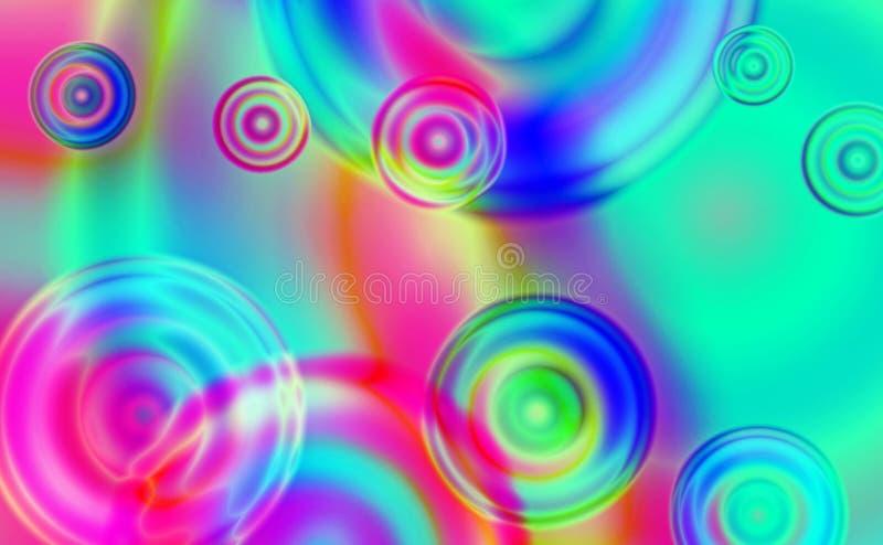 Vibrerande och färgrik bakgrund av suddiga linjer och cirklar i olika format arkivbilder