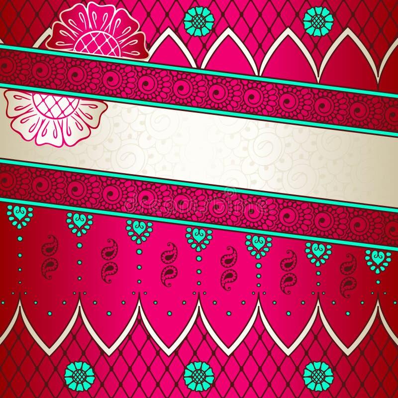 Vibrerande rosa baner som inspireras av indisk mehndidesi royaltyfri illustrationer