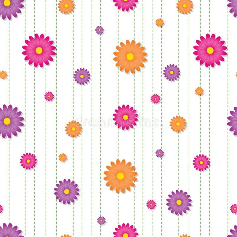 vibrerande seamless tegelplatta för tusensköna stock illustrationer