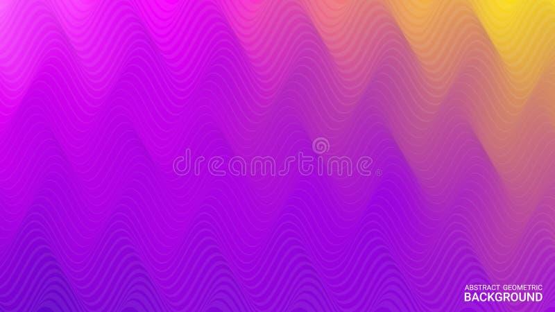 Vibrerande vågtextur Färgrik räkning med radiell vätska vektor Abstrakta geometriska former på ultraviolett lutningbakgrund stock illustrationer