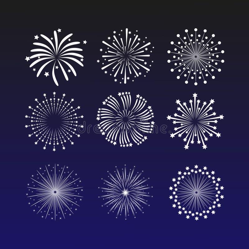 Vibrerande vektorillustration med fyrverkerier på ett mörker - blå bakgrund Härlig garneringhonnör för berömmar vektor illustrationer