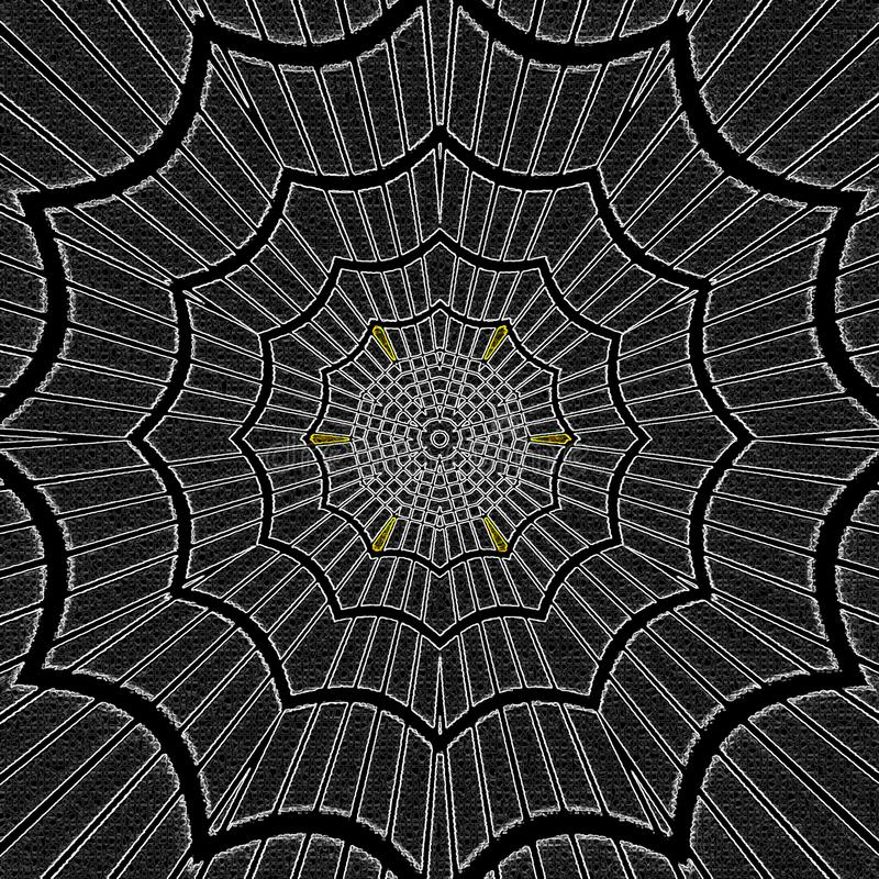 Vibrierende einfarbige abstrakte Verzierungseffekt-Spinnennetzmandala vektor abbildung