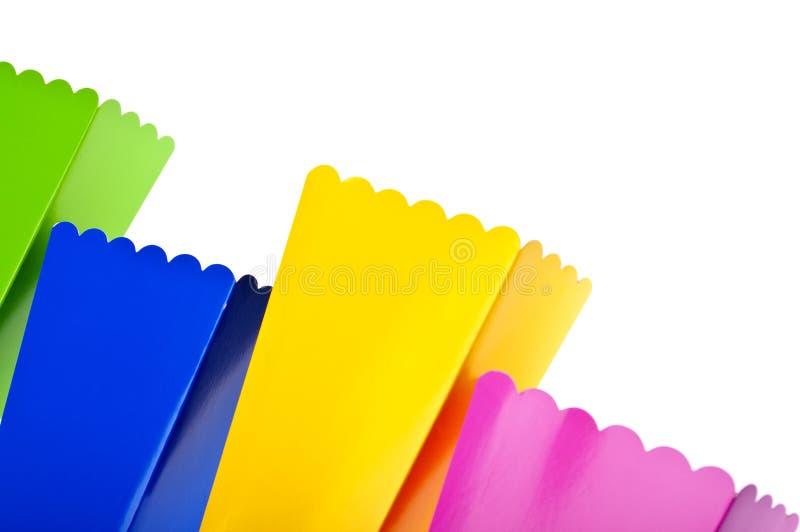 Vibrierende farbige Festlichkeit-Kästen stockfotografie