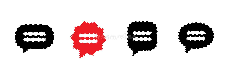 Vibrierende Sprache-Blase oder Gedanke sprudelt Vektor-Ikonen stock abbildung