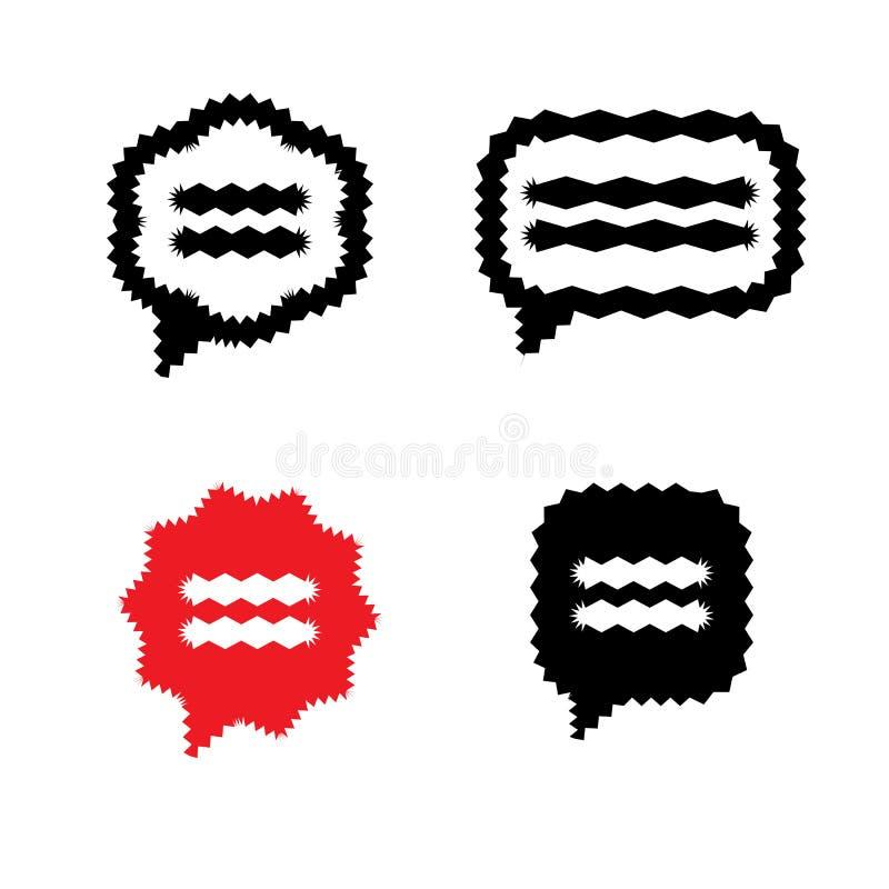 Vibrierende Sprache-Blase oder Gedanke sprudelt Vektor-Ikonen lizenzfreie abbildung