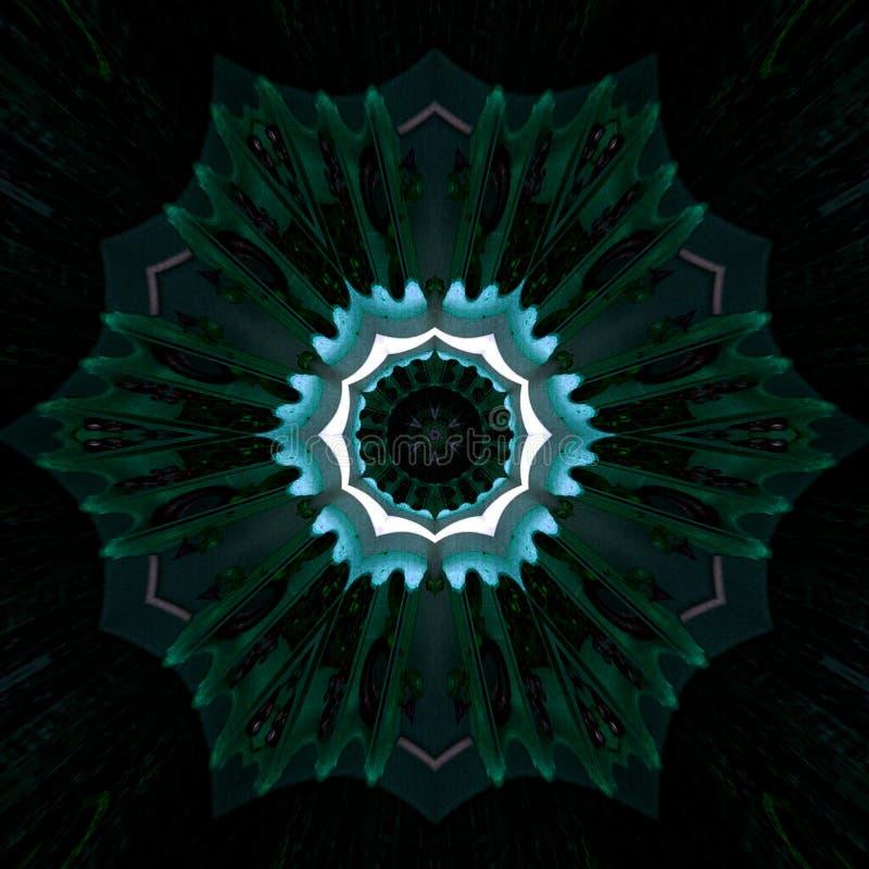 Vibrierender psychedelischer Hintergrundeffekt der dunklen Knickente alle sehende Auge Fractalmandala auf schwarzen Hintergrund lizenzfreie abbildung
