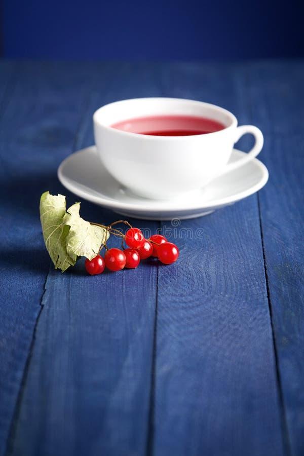 Viburnum rojo cerca de la taza con té foto de archivo