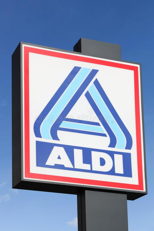 Aldi logo on a pole royalty free stock images