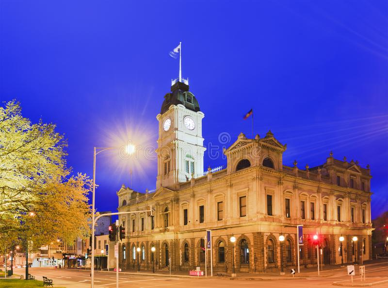VIC Ballarat Town Hall-Eckenaufstieg lizenzfreie stockfotos