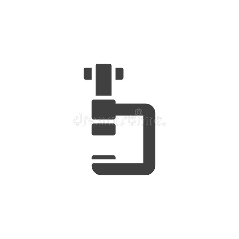 Vice clamp vector icon. G-press instrument filled flat sign for mobile concept and web design. Industrial, fixing tool glyph icon. Symbol, logo illustration royalty free illustration