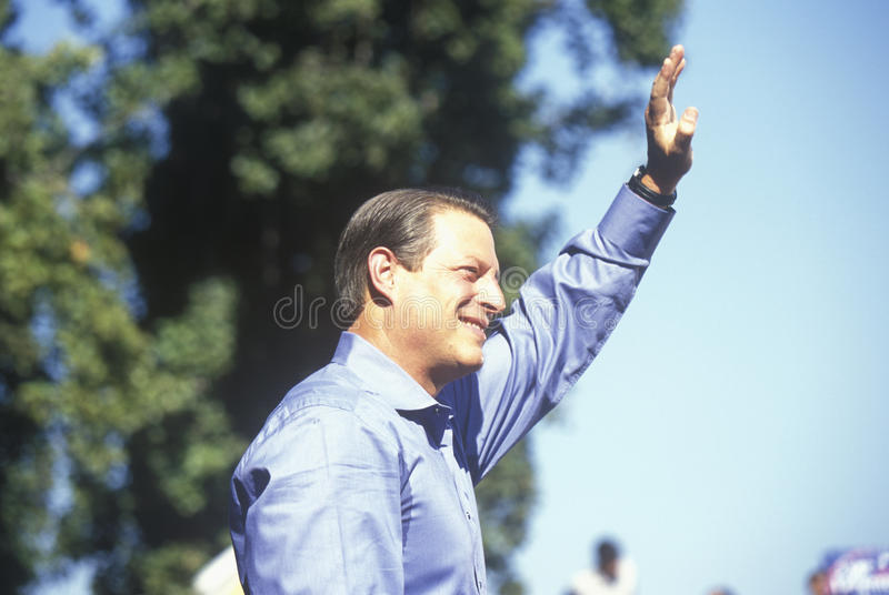 Vice President Al Gore campaigns for the Democratic presidential nomination at Lakewood Park in Sunnyvale, California royalty free stock photo