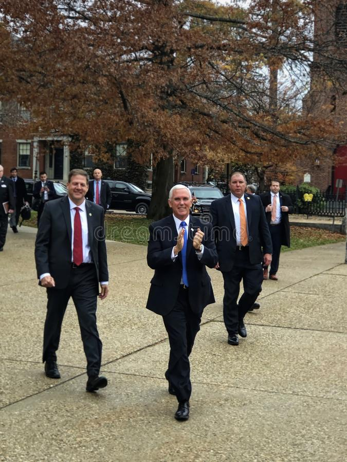 Concord, New Hampshire - November 2019 - Vice President Pence and Team arrive at the State House - Portrait stock photos