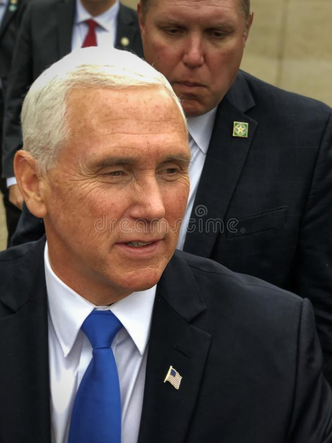Concord, New Hampshire - November 2019 - Vice President Pence Thoughtful Response to Question from Supporter stock photos