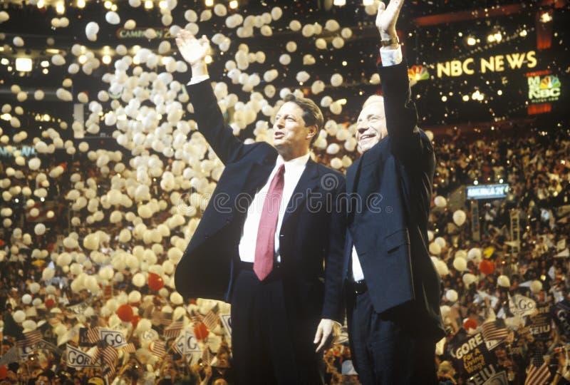 Vice presidente Al Gore y senador Joe Lieberman imagen de archivo libre de regalías