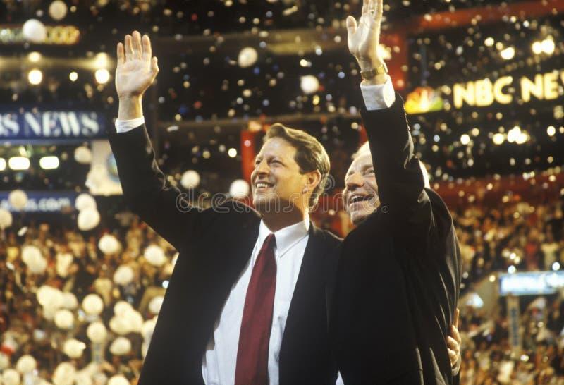 Vice presidente Al Gore y senador Joe Lieberman fotos de archivo libres de regalías