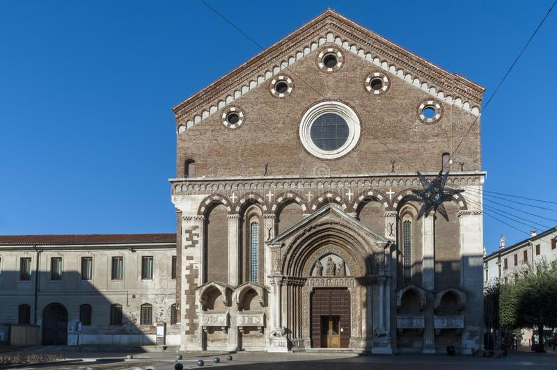 Church of San Lorenzo, a Catholic place of worship in Vicenza, built in the Gothic style at the end of the 13th century, Vicenza. VICENZA, ITALY - DECEMBER 29 royalty free stock photo