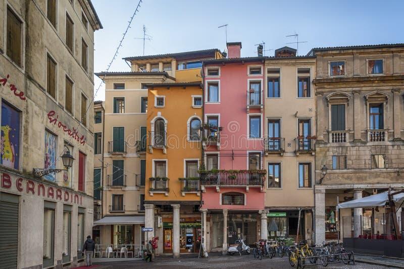 The colorful houses of Delle Biade square near Piazza Dei Signori - Vicenza, Italy. VICENZA, ITALY - DECEMBER 29, 2018: The colorful houses of Delle Biade square stock photo
