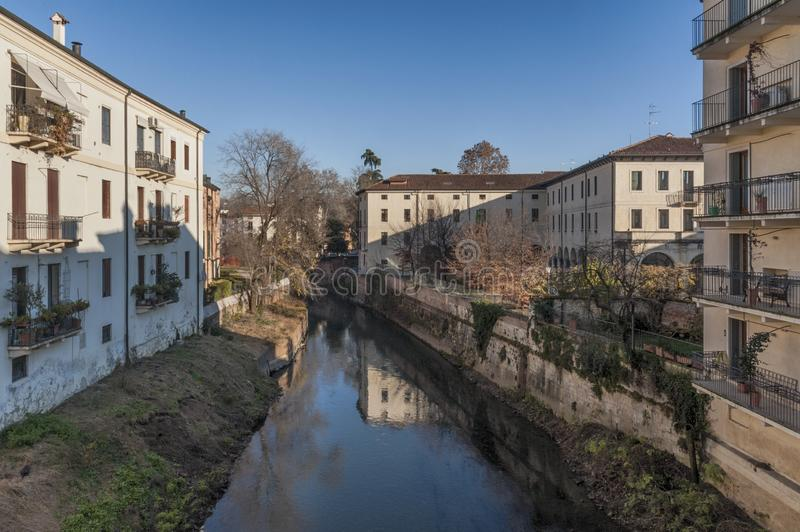 View from Ponte San Michele, ancient stone bridge in the historic city center - Vicenza, Italy royalty free stock images