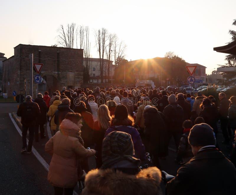 Vicenza (vi) Itália 1º de janeiro de 2016 Paz março wa de muitos povos foto de stock