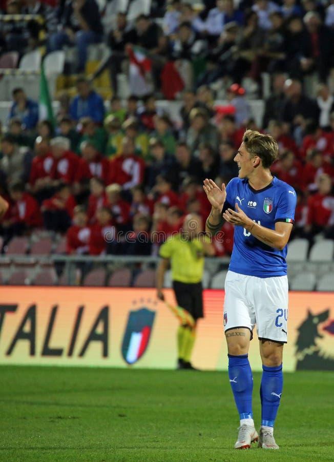 Vicenza VI, Italien - Oktober 15, 2018: Fotbollsmatch Italien vs Tunisien under 21 royaltyfria bilder