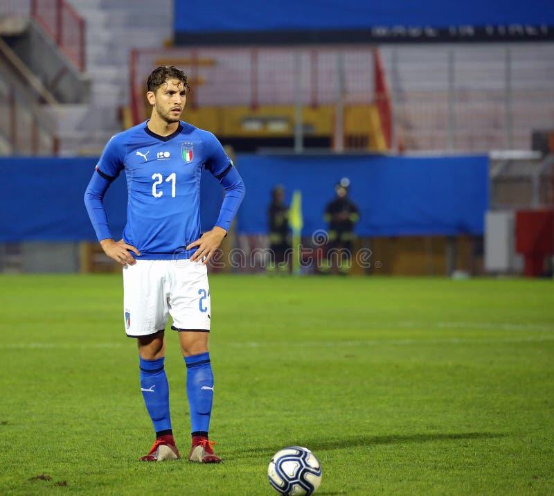 Vicenza VI, Italien - Oktober 15, 2018: Fotbollsmatch Italien vs Tunisien under 21 arkivfoto