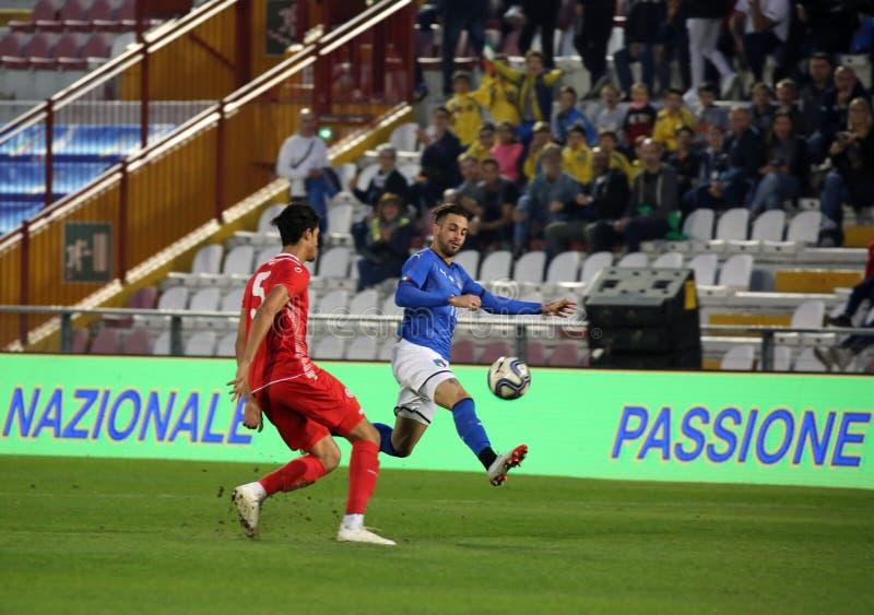 Vicenza VI, Italien - Oktober 15, 2018: Fotbollsmatch Italien vs Tunisien under 21 royaltyfria foton