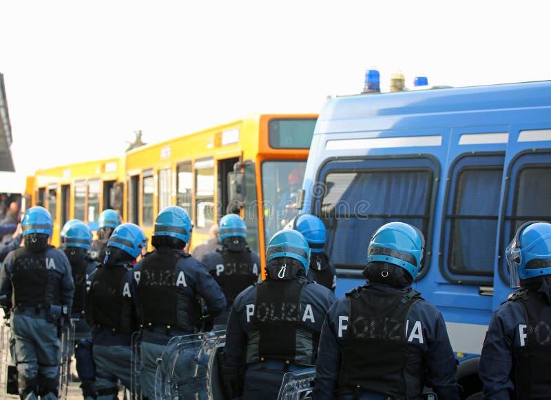 Vicenza, VI, Italy - January 28, 2017: Italian police riot squad. Vicenza, VI, Italy - January 28, 2017: armed escort of the Italian police during the transfer royalty free stock image