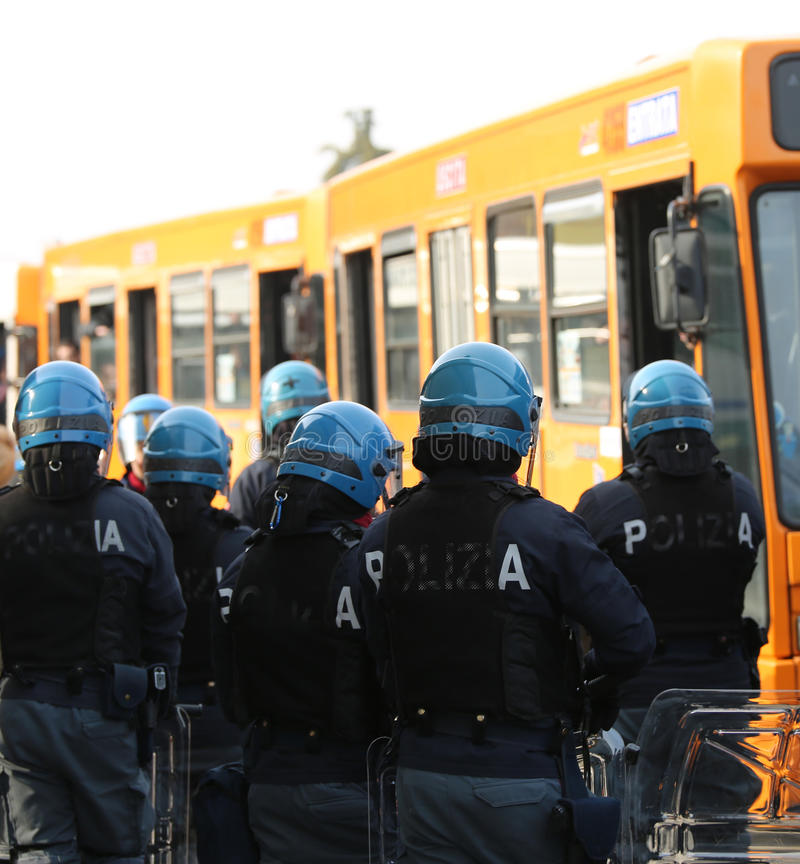 Vicenza, VI, Italy - January 28, 2017: Italian police riot squad. Vicenza, VI, Italy - January 28, 2017: armed escort of the Italian police during the transfer stock image