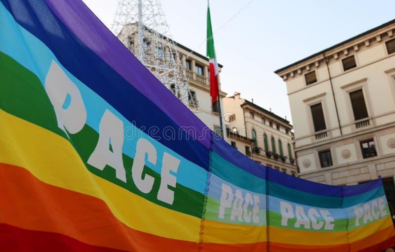 Vicenza (VI) Włochy 1st 2016 Styczeń Pokój Marzec wzdłuż stre zdjęcia stock