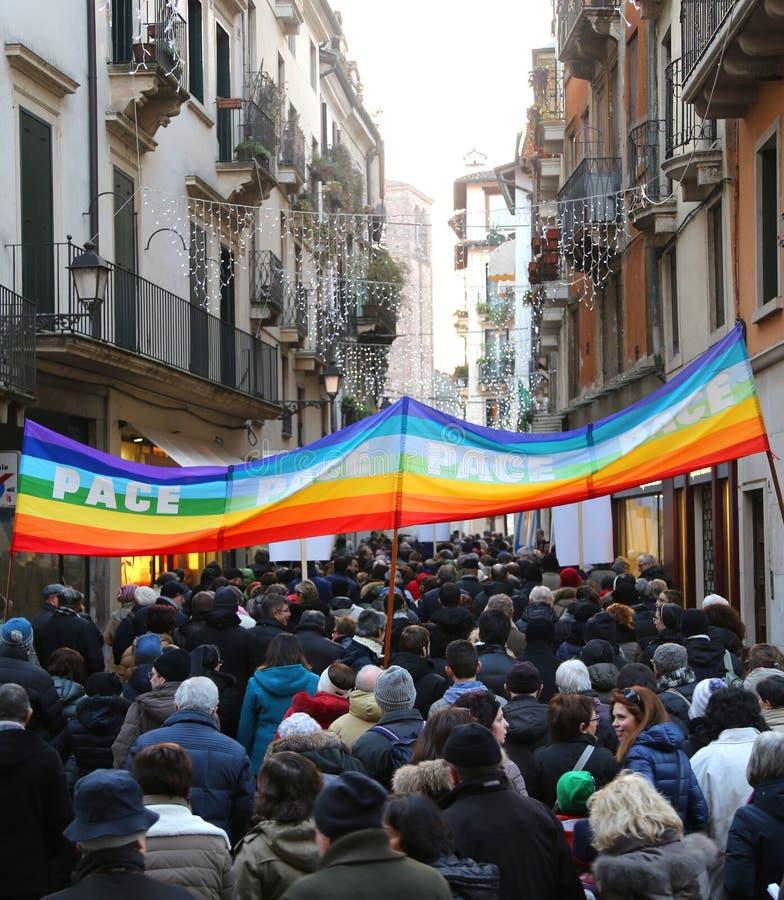 Vicenza (VI) Włochy 1st 2016 Styczeń Pokój Marzec wzdłuż stre obraz royalty free