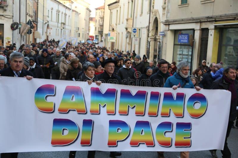 Vicenza (VI) Włochy 1st 2016 Styczeń Pokoju Marzec biskup zdjęcia stock