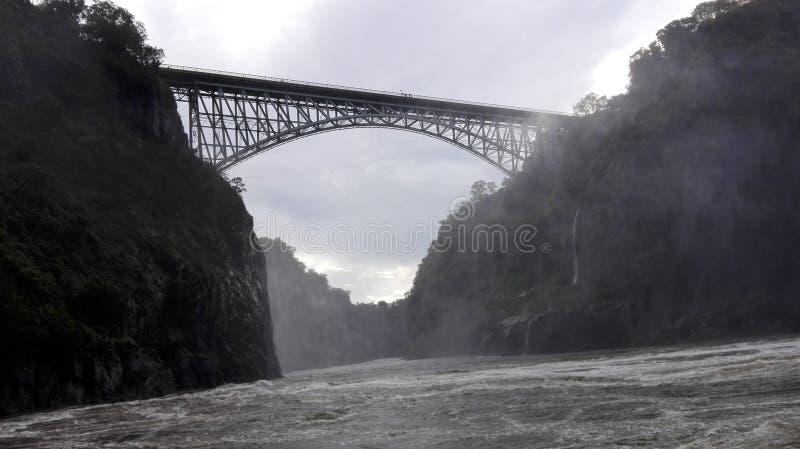Vicfalls赞比西河赞比亚边 免版税库存照片
