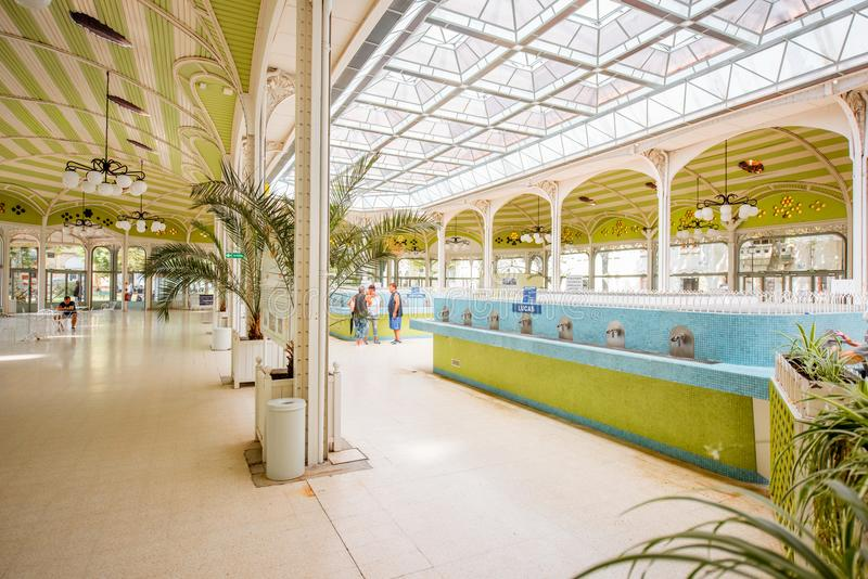 Thermal pump-room in Vichy. VICHY, FRANCE - August 01, 2017: Beautiful interior view of the old thermal pump-room with healing water in Vichy city in France stock photos