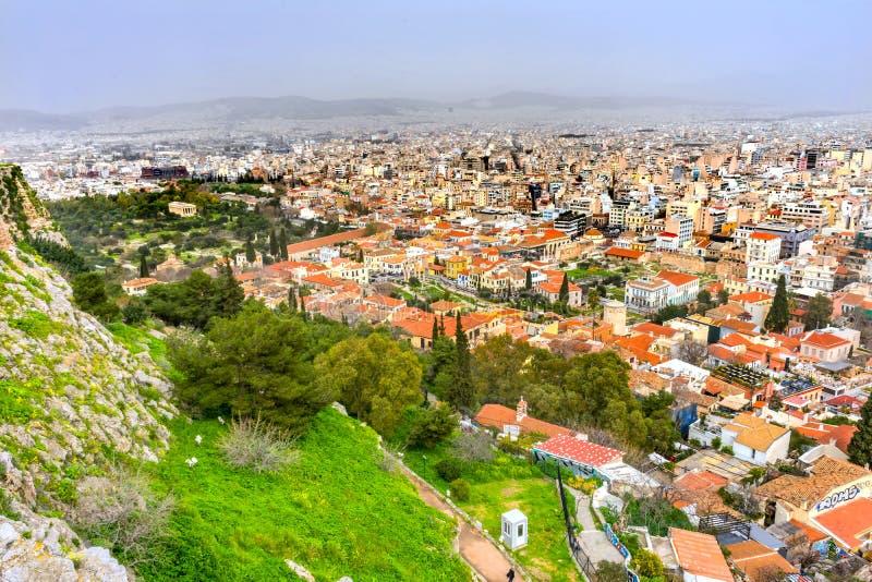 Vicinanze greche dell'agora antico dall'acropoli Atene Grecia immagini stock libere da diritti