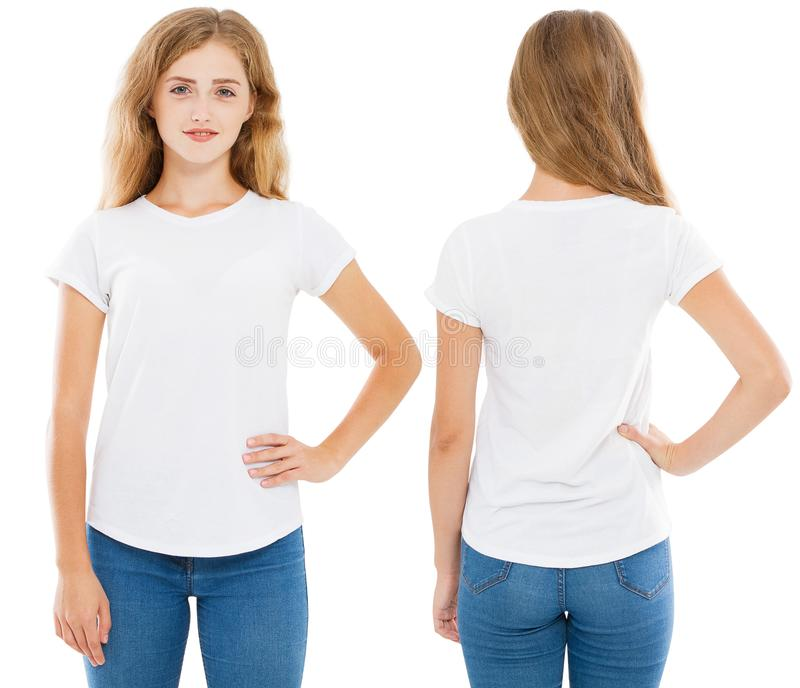 vicino su della giovane donna in maglietta bianca in bianco, camicia, anteriore e posteriore isolata, ragazza in maglietta fotografia stock libera da diritti