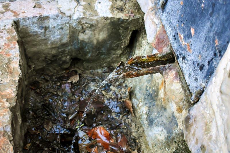 vicino su di una fontana in cui attraverso un mezzo tubo scorre l'acqua sorgiva fresca da una fonte naturale Il getto di acqua ca fotografia stock libera da diritti