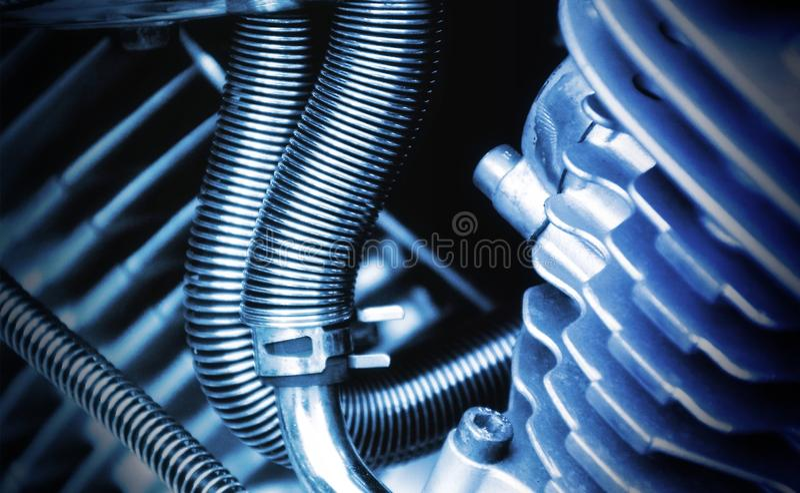 Vicino su, tecnologia, blu elettrico, metallo