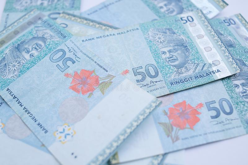 Vicino sulla banconota della Malesia da 50 ringgit Il ringgit ? la valuta nazionale della Malesia fotografia stock libera da diritti
