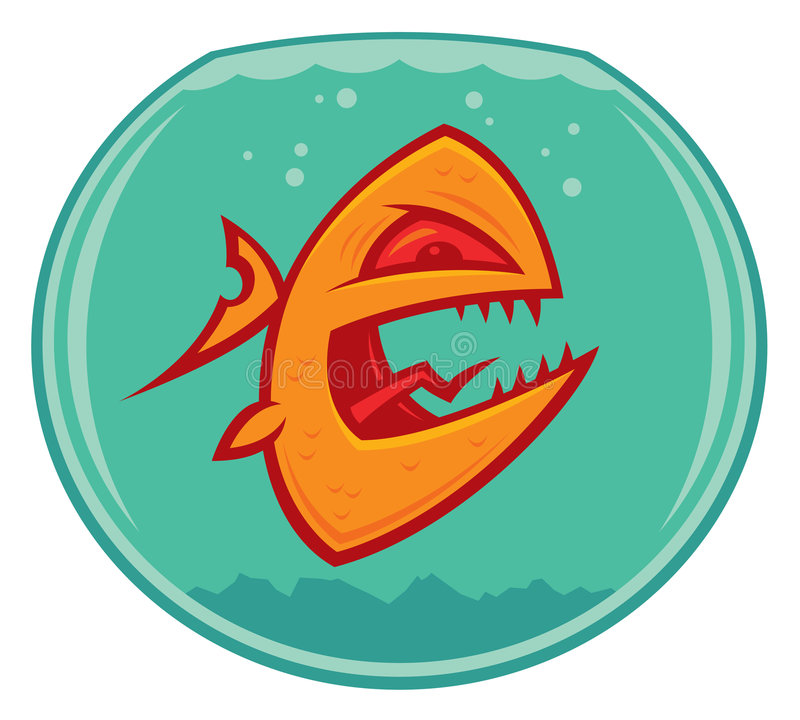 Vicious Goldfish. Vector cartoon of an angry and vicious goldfish in a small fishbowl. He could also be a piranha royalty free illustration