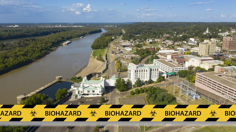 Vicksburg Tennessee Aerial View Riverfront Downtown Locked Down. Governor Lee signs order to require residents of Vicksburg to stay home during Corona Virus stock photography