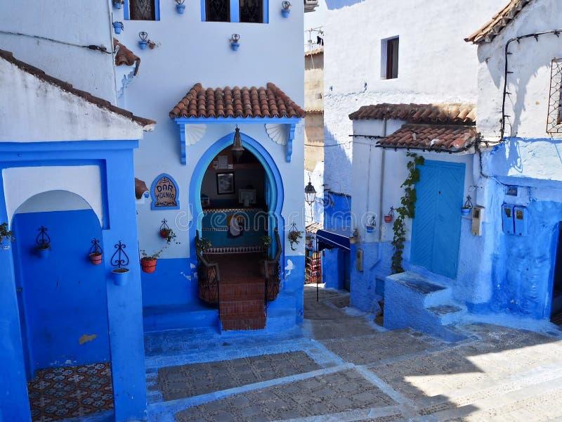 Vicoli blu di Chefchaouen fotografie stock