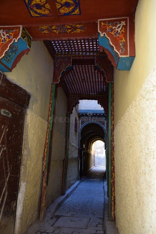 Vicoli del mercato di Fes, Marocco fotografia stock libera da diritti
