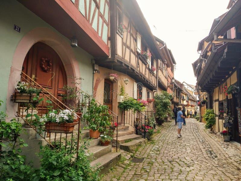 Vicoli pittoreschi di Eguisheim, vecchie case tipical nello stile renano, decorato con i fiori france immagine stock libera da diritti